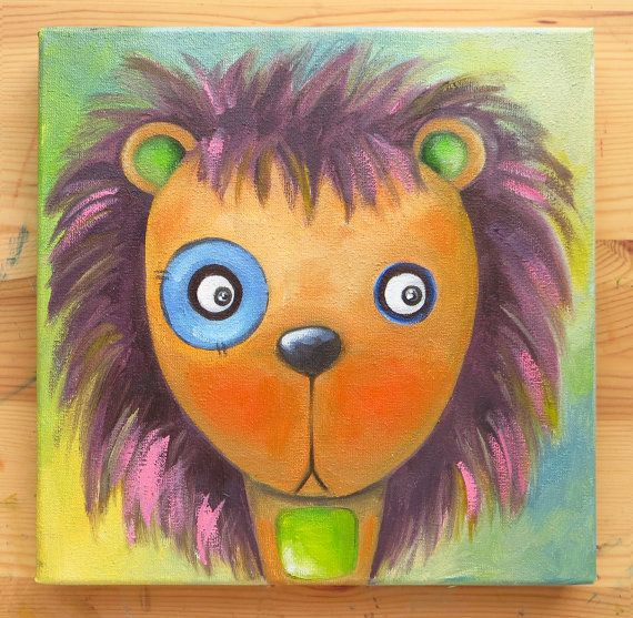 Lion Portrait, Original Art, Animals, Oil on canvas, MikiMayo