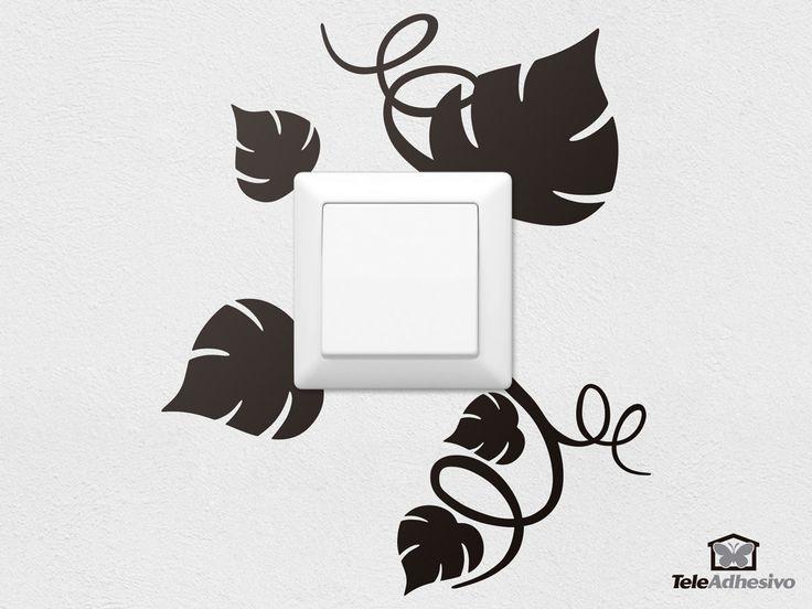 Vinilo decorativo Hojas de la viña. Vinilo decorativo ideal para interruptor de luz o enchufe. #TeleAdhesivo #vinilo #decoración #enchufe #deco #pared