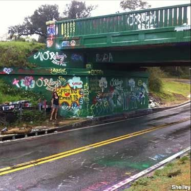 Graffiti Bridge. Near our vacation house. PHOTO OP SCAVENGER HUNT.