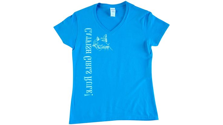 CatFish Girls Rule ! V-Neck TEE-Blue