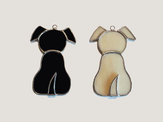 Handmade Stained Glass Puppy Dog Suncatcher by QTSG on Etsy