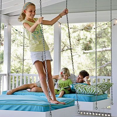 screened porch: Beaches House, Hanging Beds, Sleep Porches, Twin Beds, Beds Swings, House Idea, Design Idea, Porches Swings, Swings Beds