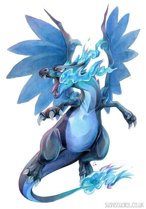 A4 Mega Charizard X Print Mixed media by SushiStudios on Etsy  Stunning prints by this lovely artist! Go check out their Etsy shop, their style is beautiful. :)