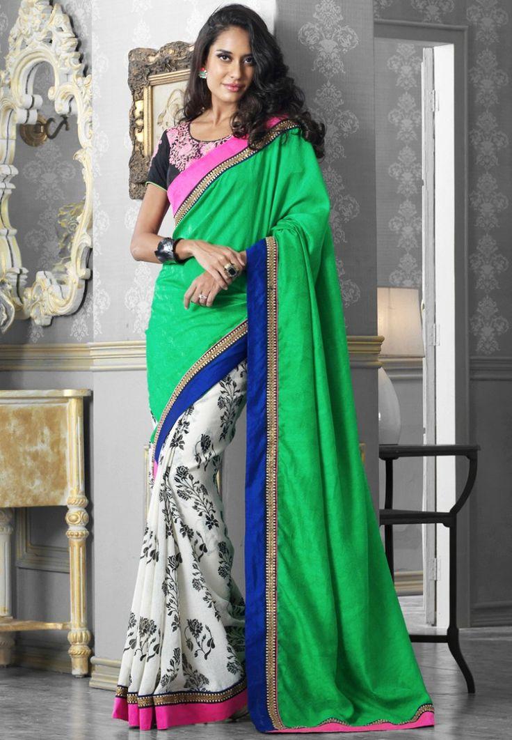 Green/Off White Printed Jaquard Saree at $72.20 (24% OFF)