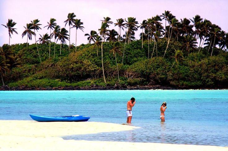 Snorkeling in front of resort in Muri Lagoon