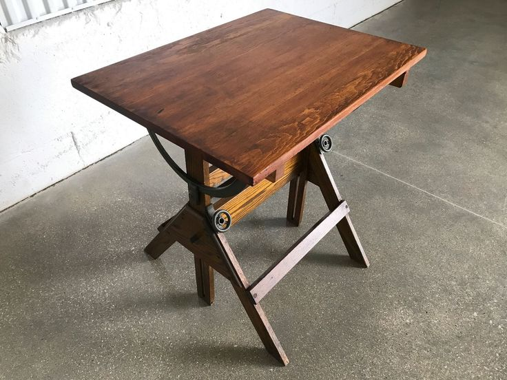 antique drafting table wood iron 1920s vintage industrial table bar table