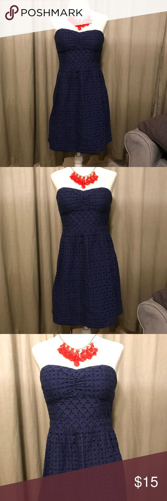 AEO Navy Eyelet Dress Super cute and flattering, strapless dress! American Eagle Outfitters Dresses Midi