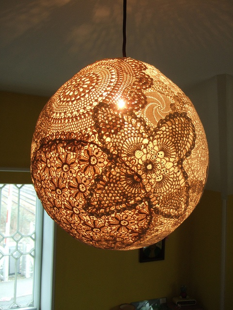 17 Best Images About Doily Lamp On Pinterest Lace Lamp