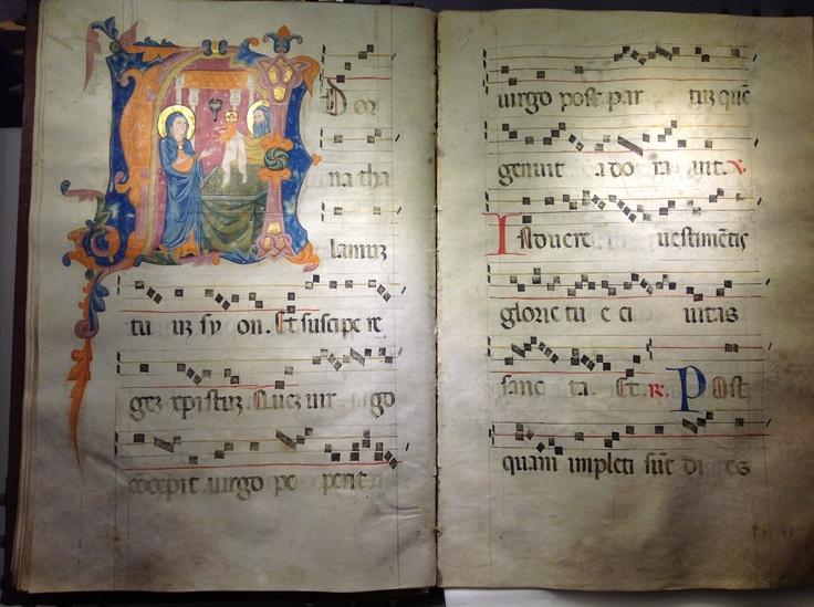 Antifonario del XIV secolo; iniziale istoriata raffigurante la Presentazione nel Tempio