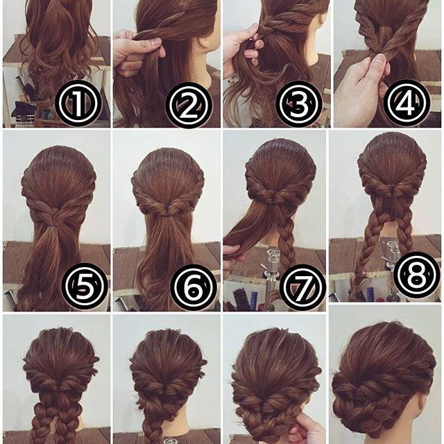 【再投稿】 先ほどの投稿スタイルの作り方です! アップアレンジ ① トップを結びます。 ② フロントから髪を拾い足しながらロープ編みにします。 ③ 耳の後ろまで髪を拾いながら後ろまで。 ④ 反対側も同じようにします。 ⑤ ロープ編みした両側をゴムでまとめます。 ⑥ それをくるりんぱします。 ⑦ 残っている髪を真ん中でふたつに分けてそれぞれを三つ編みにします。 ⑧ もう片方も三つ編みに。 ⑨ 毛束を引き出して柔らかくほぐしておきます。 ⑩ 三つ編みの毛先を折り込んで反対側にもっていきピンで留めます。 ⑪ 残った片方も同様にピンで留めます。 ⑫ 完成です! #横浜美容室#ヘアサロン#ヘアエステ#美容室#ヘアアレンジ#ヘアアレンジ解説#ヘアアレンジプロセス#簡単アレンジ#まとめ髪#ヘアスタイル#アンティーク#アップアレンジ#ロープ編み#三つ編み#くるりんぱ#横浜#石川町#元町#nest
