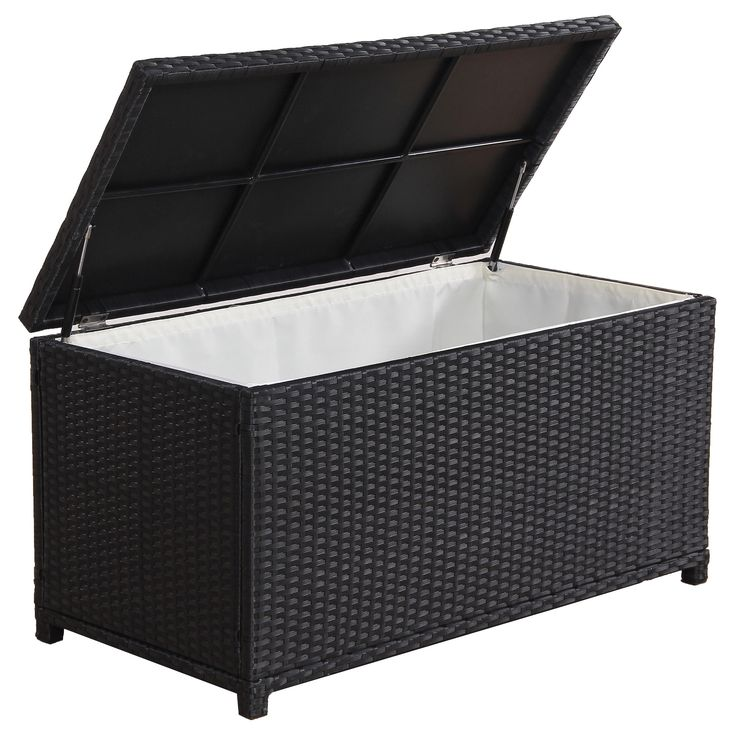 Stash Your Outdoor Cushions Safely In This Durable Storage Box By Broyerk The Frame Features Quality Aluminum And Uv Resistant Pe Rattan Construction