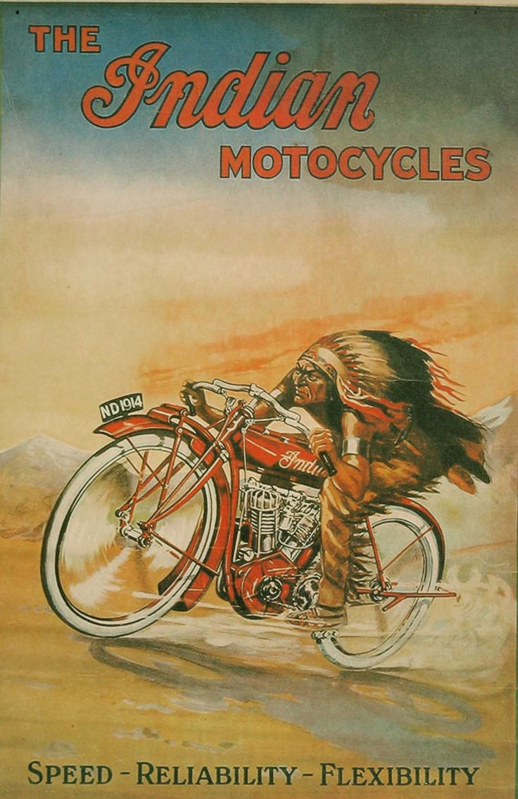 photos of vintage motorcycles | Vintage Indian Motorcycles Advertising Poster