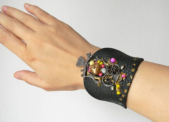 Black leather cuff bracelet with owl pendant and colorful