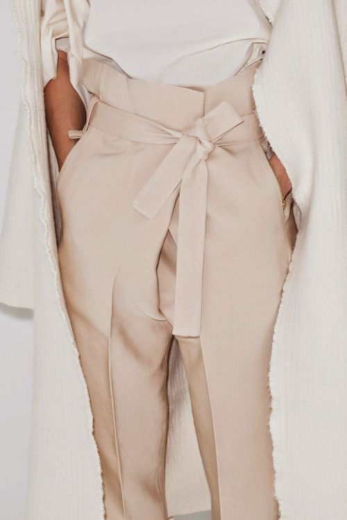 sneakers and pearls, champaign high waist pants, soft long belt, nude outfit, trending now