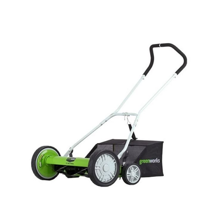 """GreenWorks 25062 2-in-1 Reel Lawn Mower with 18"""" Cutting Width and Grass Catcher Push Lawn Mowers Walk Behind Mowers Reel"""