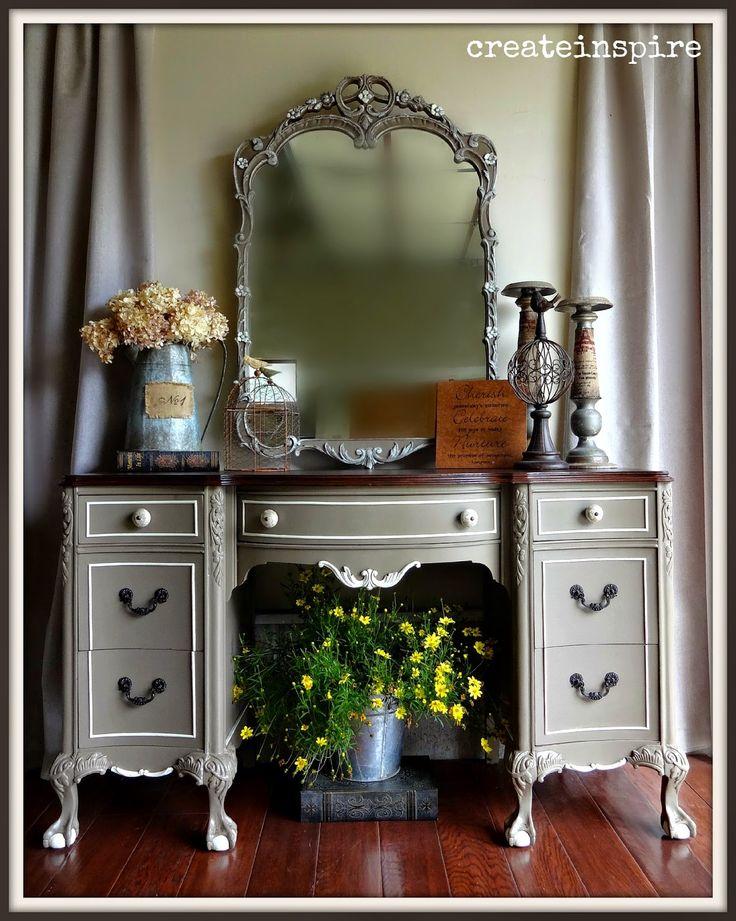 Dresser - Warm Grey with cream accents, black accents, dark wood top