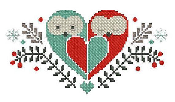 Love owlsCross stitch pattern pdf format by sunshinehomedecor