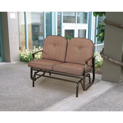 Brown Outdoor Glider Bench Patio Furniture PoolSide Deck Balcony Yard 2  Seater