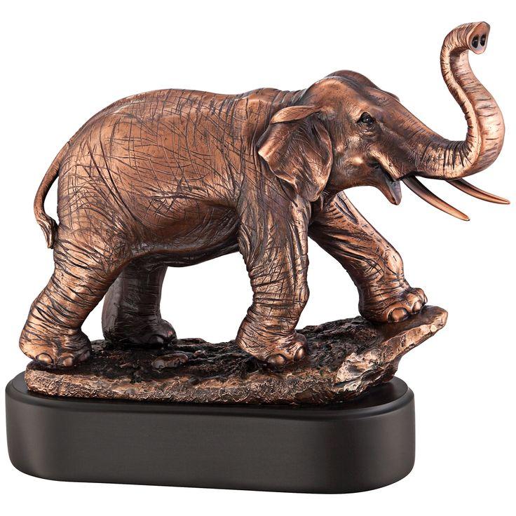"Charging Elephant 10 1/2"" High Bronze Figurine - Style # 8J030"
