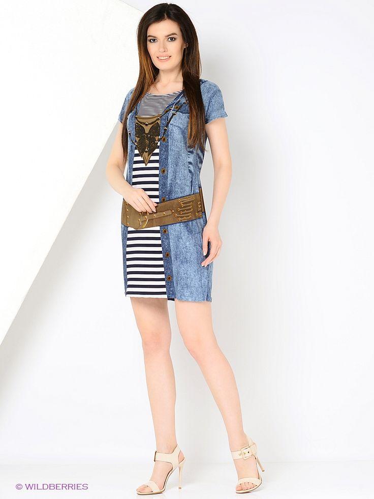 Винтажное платье из ткани масло. Принт создает иллюзию платья в полоску и длинной джинсовой накидки с капюшоном.