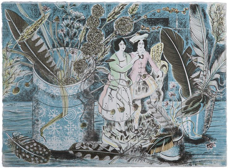 A Highland Gathering - Angie Lewin - lithograph print
