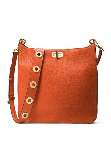 Michael Kors Sullivan Orange Leather Turn-Lock Closure Large Messenger Bag #Doris_Daily_Deals #Bonanza http://www.bonanza.com/listings/426341091