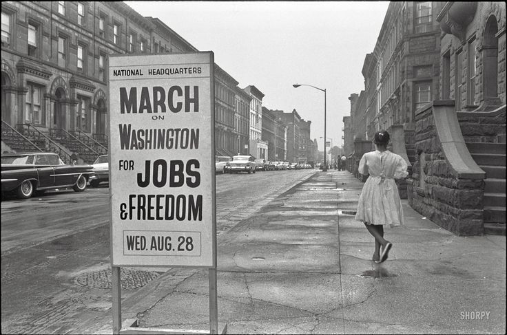 """Shorpy Historical Photo Archive :: August 1963. """"New York. Sidewalk sign outside the March on Washington headquarters building, 170 W. 130th Street."""" Photo by Werner Wolff for U.S. News & World Report.1963"""
