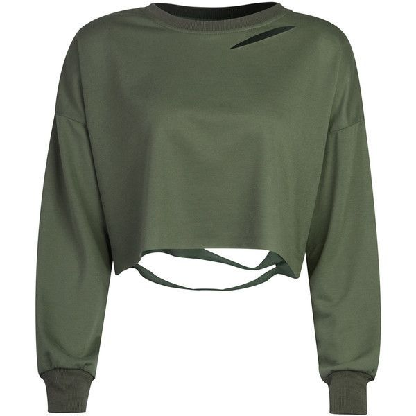 Military Green Ripped Drop Shoulder Cropped Sweatshirt (£19) ❤ liked on Polyvore featuring tops, hoodies, sweatshirts, shirts, sweaters, crop top, army green sweatshirt, distressed shirt, cotton sweatshirts and destroyed shirt
