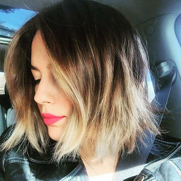 Chin Length Bob Haircut with Blonde Highlights
