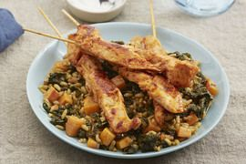 [december 6th]-  Harissa Chicken Skewers with Khorasan Wheat & Persimmon Salad