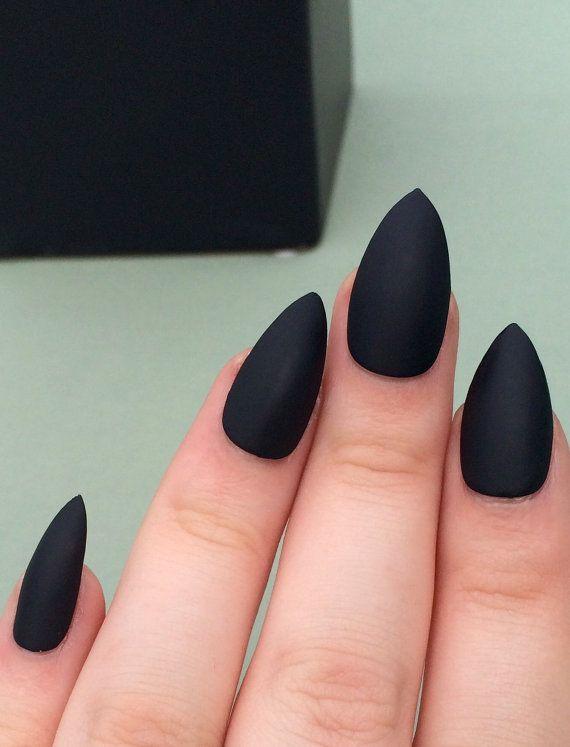 Matte black nails stiletto nails fake nails by nailsbykate on Etsy