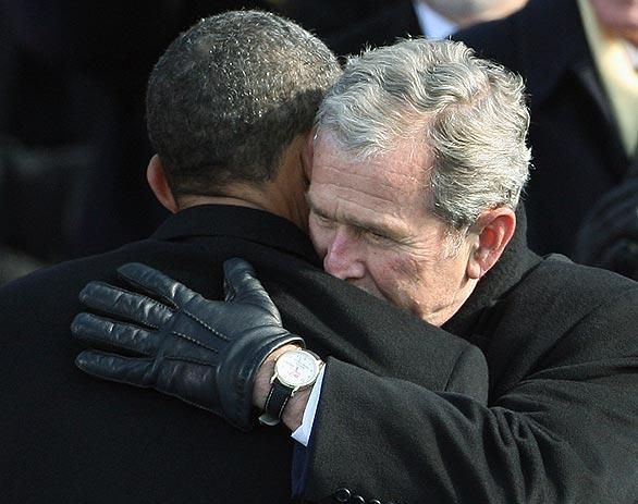 President Obama and former President Bush at Obama's January 20, 2009 inauguration.
