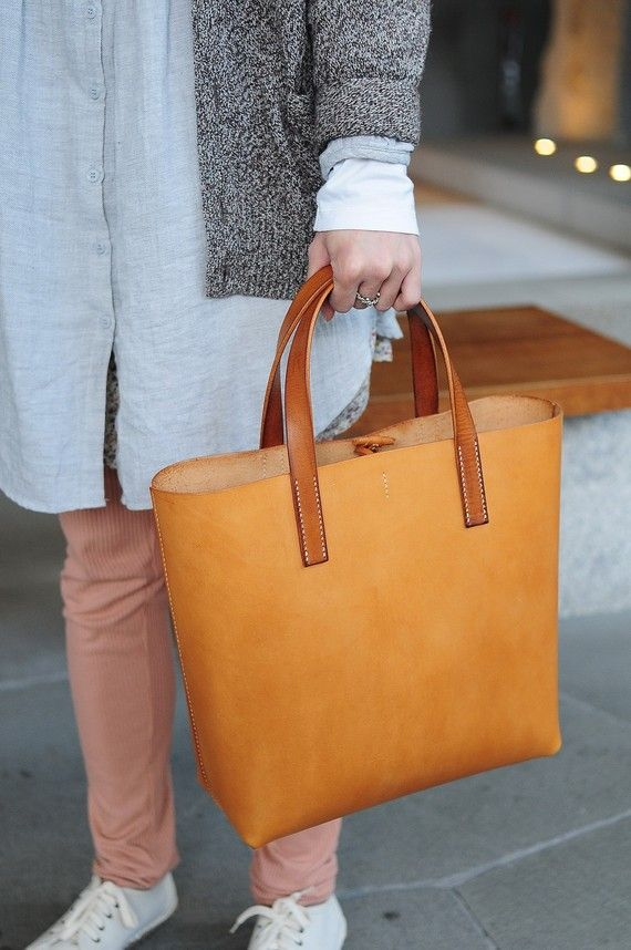 Hand Stitched Light Brown Leather Tote Bag by ArtemisLeatherware, $175.00