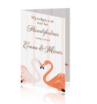 Mooie trouw menukaarten voor uw huwelijk of  huwelijksdiner een dinerkaart met flamingo's in zalm roze.