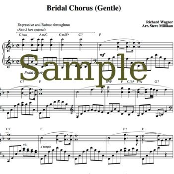 "gentle, romantic piano arrangement of the traditional bridal chorus ""here comes the bride"" #WeddingMarch #HereComesTheBride includes recorded version for your bridal processional if you prefer http://weddingmusicproject.bandcamp.com/album/bridal-chorus-variations"