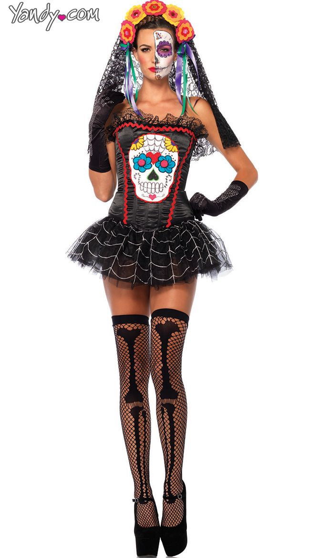 sugar skull bustier sugar skull halloween costumewoman - Bustier Halloween Costumes