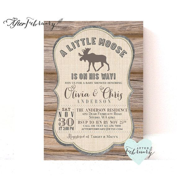 Moose Baby Shower Invitation // Wood Rustic Moose Woodland Baby Shower // Printable No.1008