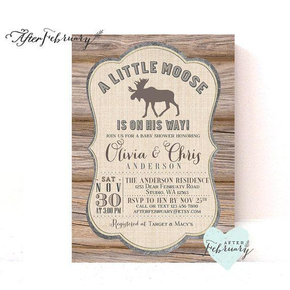 Moose Baby Shower Invitation // Wood Rustic Moose Woodland Baby Shower // Printable No.1008