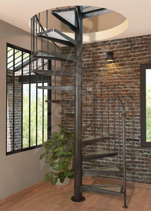 Photo DH38 - SPIR'DÉCO® Caisson. Escalier intérieur hélicoïdal métal et verre pour une décoration rétro ou classique avec touche contemporaine.