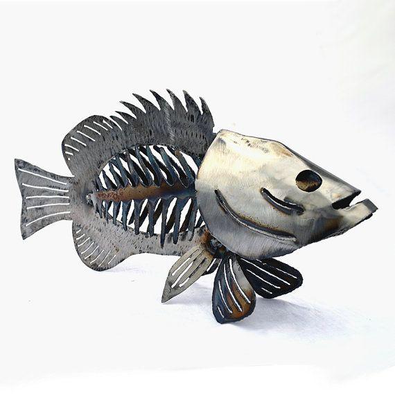 17 best ideas about fish sculpture on pinterest trash for Metal fish art