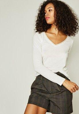 V nyakú női felső - Ekrü - Top/T-shirts - Női - Promod