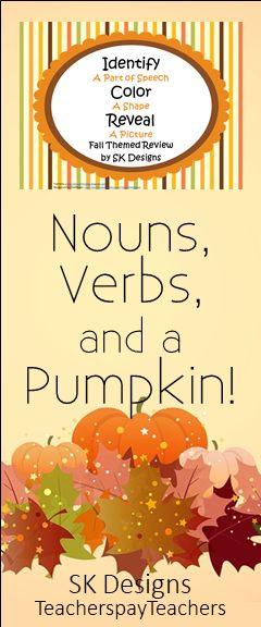 "A fall themed ""reveal-a-picture"" grammar review from SK Designs  TeacherspayTeachers"