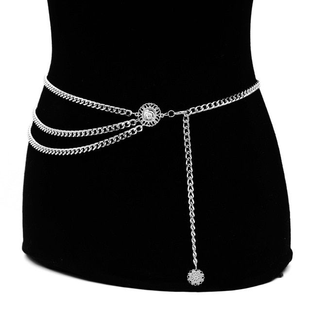 Ladies Diamante Rhinestones Adjustable Metal Chain Belts Girls Fashion Waistband