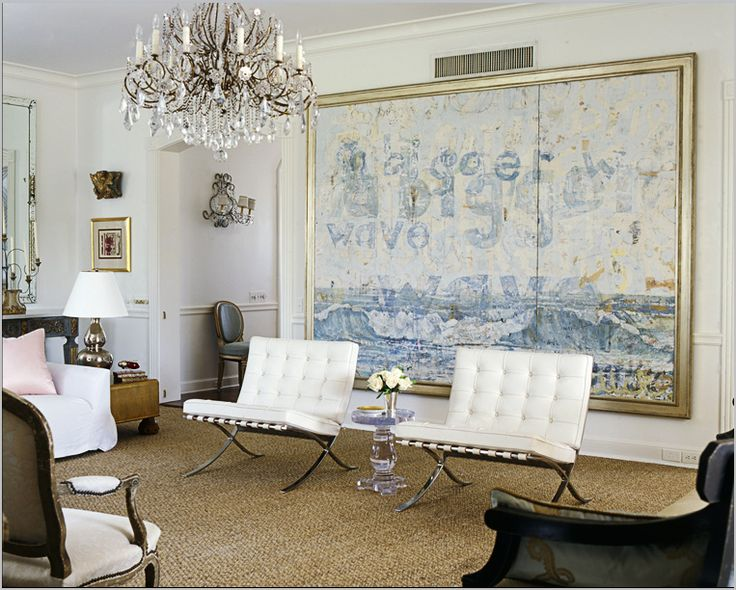 Blue White Living Room Decorating Ideas Home Decor Large Painting Art Abstract Barcelona Chairs Crystal Chandelier Eclectic Antique Modern Contemporary