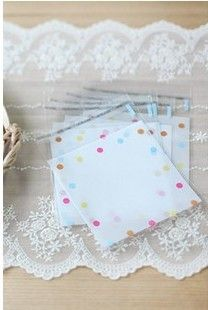 10*10+4cm colorful dots clear biscuit adhesive bags OPP food packaging plastic gift  bags