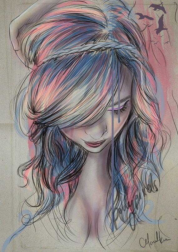 A4 Colourblind Digital Art Print by Pollypixels on Etsy, $15.00  Tags: colour, hair, braid, waves, curls, icecream, purple, blue, tear, emotional, female, portrait, pop, beautiful, sexy, watercolour, watercolor, paper, texture, rainbow