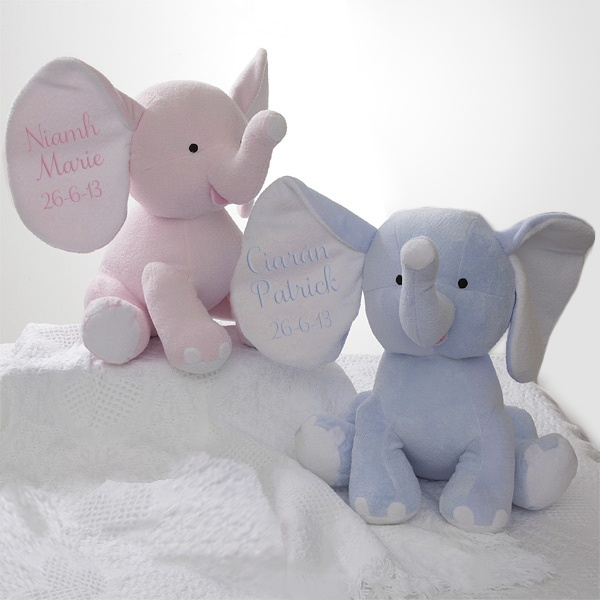 These personalised Baby Elephants from www.babygifts.ie are an impressive gift to welcome a very special new arrival or celebrate a birthday for a gift they won't forget!