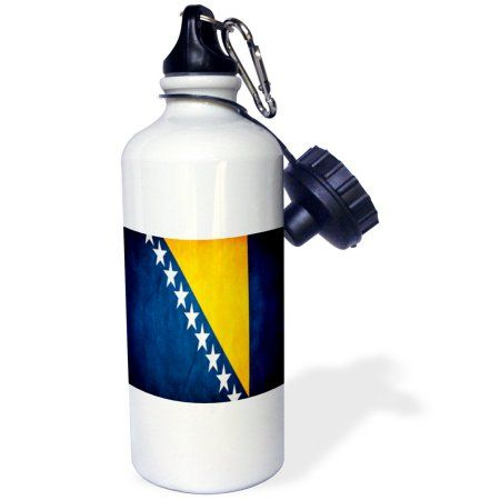 3dRose Bosnia Flag, Sports Water Bottle, 21oz, White