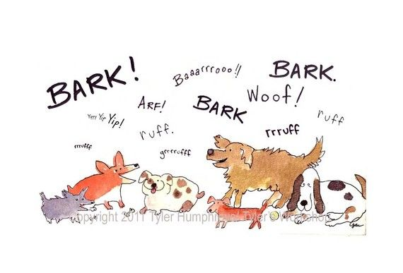Dog Greeting Card Funny Barking Dogs Watercolor Painting