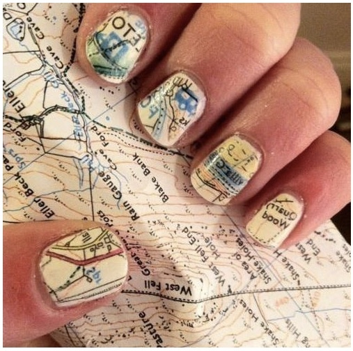 Soak in alcohol for 5 minutes then press nails to map.